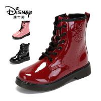 【达芙妮集团】迪士尼 童鞋女童靴子冬儿童中筒靴二棉公主靴马丁靴