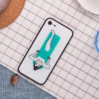简约 iPhone X手机壳苹果7/8p钢化玻璃6/6sp保护壳挂绳软边防摔薄