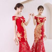 中式敬酒服新娘2018新款冬红色长款修身鱼尾裙中国风结婚晚礼服女