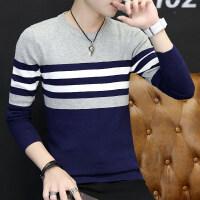 毛衣男圆领韩版学生秋季毛衫薄款条纹修身线衣潮流长袖针织衫上衣