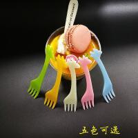 一次性叉子水果叉彩色小叉蛋糕加厚叉慕斯罐头独立包装纸巾叉