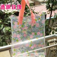 加厚手提式塑料袋礼品包装袋服装店衣服袋子精美男女鞋袋家居家纺收纳用品收纳袋塑料袋 手提式 透明玫瑰 一包50个