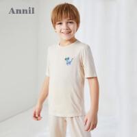 【3件3折价:65.7】安奈儿童装男童夏季套装薄2020新款五分袖七分裤莫代尔家居服套装