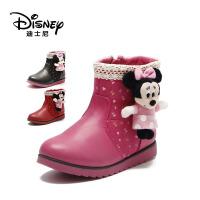 【达芙妮集团】迪士尼 儿童靴子女童冬季鞋加绒短靴冬季宝宝鞋-6