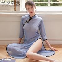 性感情趣内衣古典旗袍蕾丝透明超骚女仆制服套装激情诱惑衣服女骚