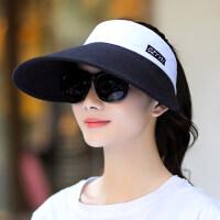 遮阳帽女夏天可折叠户外骑车帽子大檐空顶太阳帽 黑帽檐(白色) 均码可调节(55-62CM)送防风绳