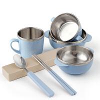 学生儿童餐具创意韩式304不锈钢筷子勺子套装米饭碗杯子