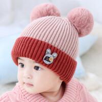 婴儿帽子秋冬0-3-6-12个月男女孩保暖帽fang风厚款宝宝毛线帽