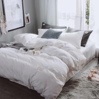 欧美色双拼磨毛四件套仿棉床上用品学生被套家纺 床笠款四件套 被套2*2.3米 床笠1.8*2米