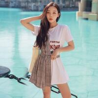 2019新款女装夏装拼接格子连衣裙LZ8711�� 白色