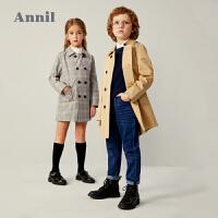 【3件3折价:170.7】安奈儿童装女童格子风衣中长款2020秋新款洋气英伦风时髦男童外套