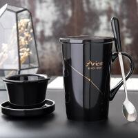 创意杯子陶瓷带盖勺泡茶杯过滤咖啡杯简约情侣水杯办公室马克杯