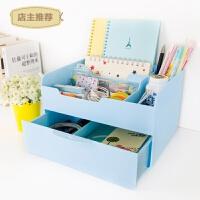 韩国抽屉式化妆品收纳盒大号创意桌面收纳盒塑料整理收纳箱SN1886 绿色