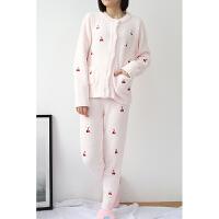 软绵绵草莓睡衣女秋冬季日式珊瑚绒毛绒毛线家居服套装月子服加厚 均码