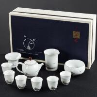 白瓷功夫茶具套装景德镇手绘陶瓷盖碗茶杯家用整套茶具礼盒装