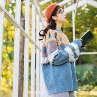 毛衣女学生韩版宽松chic上衣港味针织衫加肥加大码女装胖mm秋冬装