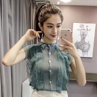 新款夏装韩版蕾丝花边拼接短款开衫无袖冰丝针织衫背心上衣女