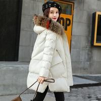 2019棉衣女冬装外套韩版大毛领中长款加厚棉袄学生妈妈装 M 建议85-100斤
