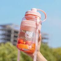 超大容量塑料水杯女便携带吸管学生户外运动健身水壶男杯子2000ml