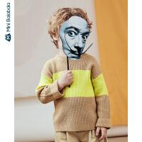 迷你巴拉巴拉男童毛衣2020春装新款儿童宝宝洋气撞色柔软针织