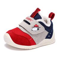 史努比童鞋男女童学步鞋冬季加绒保暖宝宝鞋子女1-3岁机能鞋