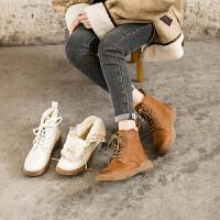 玛菲玛图秋冬雪地靴女平底短靴皮毛一体加绒加厚英伦风马丁靴女5311-43YML