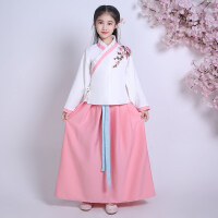 儿童古装改良日常汉服民族风古筝舞蹈演出服装女童绣花秋冬装新款