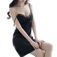 透明性感睡衣火辣网纱睡裙套装蕾丝吊带睡裙情趣睡衣诱惑性感家居服 黑色80-120斤