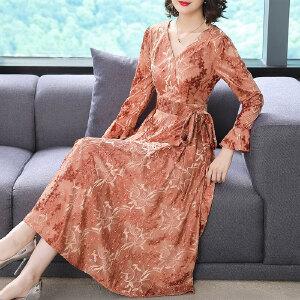 RANJU然聚2018秋季女装新品新款长袖提花蕾丝V领连衣裙女显瘦遮肚中长款连衣裙