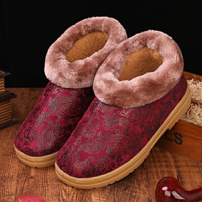 冬季包跟棉拖鞋室内居家中老年人保暖皮棉鞋男女防滑防水厚底冬天