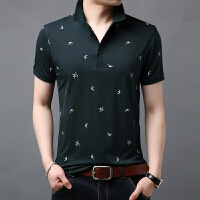 青年polo衫男短袖莫代尔t恤商务休闲丝光棉�B恤男士半袖t��有带领