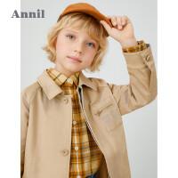 【活动价:369.85】安奈儿童装男童风衣中长款秋2020春季新款英伦风洋气潮童休闲外套