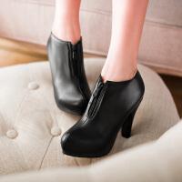 彼艾2017秋冬新款高跟裸靴防水台鞋子及踝短靴细跟女式靴子潮靴女靴子