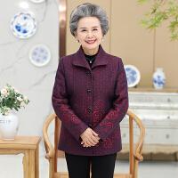 妈妈装秋装外套女50-60-70岁中老年女装奶奶装两用衫厚褂子秋上衣 XL 建议95斤以内