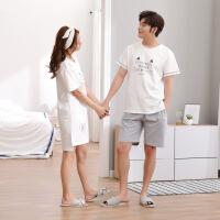 2套价夏天情侣睡衣夏季短袖纯棉男女家居服套装卡通日系白色简约 8621男白女白