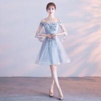 宴会晚礼服长款2018新款夏季礼服显瘦优雅灰色一字肩伴娘服长裙女