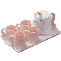 可爱卡通独角兽整套水杯创意水具套装家用托盘杯子陶瓷冷水壶茶具 独角兽冷水壶套装