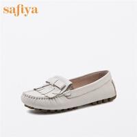 【一口价:150元】Safiya/索菲娅春商场同款牛皮圆头流苏低跟女鞋SF71111106