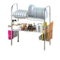 诗诺雅304不锈钢碗架水槽沥水架厨房置物架用品用具收纳架碗碟架 双层94长 双槽款【豪华版】