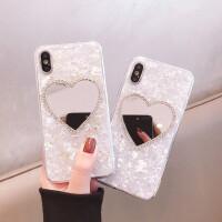 锡箔水钻爱心镜子情侣8plus苹果x手机壳XS Max/XR/iPhoneX/7p/6s女iphone11Pro新款少女