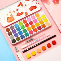 固体水彩颜料套装18色24色36色初学者手绘水粉颜料套装小学生儿童用便携式分装美术画画工具用品成人绘画套装