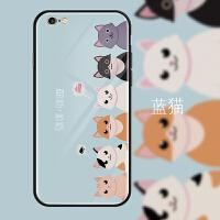苹果6s手机壳可爱卡通猫咪猫爪玻璃镜面iphone6保护套全包防摔潮