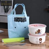 中式陶瓷便当盒保鲜容器可爱饭碗微波炉专用保鲜盒带餐密封碗加大