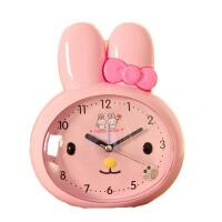 儿童闹钟 会说话 升级版双夜灯扫秒可爱卡通学生闹钟卧室床头小闹钟 BX 粉兔