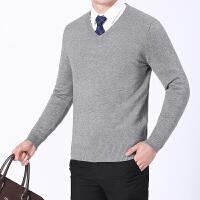 男羊毛衫中青年针织纯色加厚鸡心V领毛衣套头上班商务打底衫秋冬