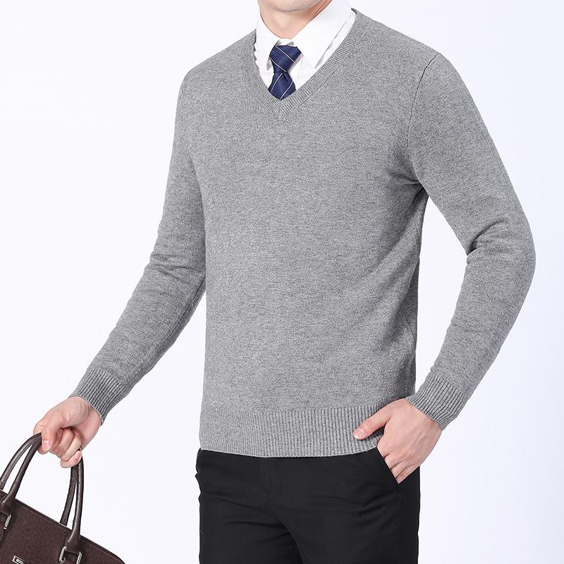 男羊毛衫中青年针织纯色加厚鸡心V领毛衣套头上班商务打底衫秋冬 发货周期:一般在付款后2-90天左右发货,具体发货时间请以与客服协商的时间为准