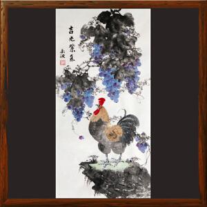 大鸡图《吉光紫气》张承源R4900 广东美协