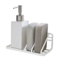 多功能水槽置物架壁挂海绵沥水架厨房洗碗池沥水篮水龙头收纳挂架 白色(配强力粘钩) 图片色