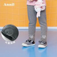 【2件45折:76.1】安奈儿童装女童加绒加厚打底裤冬装新款儿童长裤女
