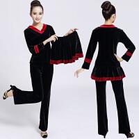 秋冬广场舞服装新款套装金丝绒三件套中老年舞蹈服健身运动套装